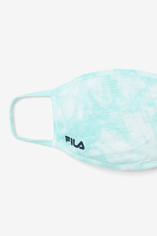 Aqua Blue Tie Dye Face Mask in paleturquoise