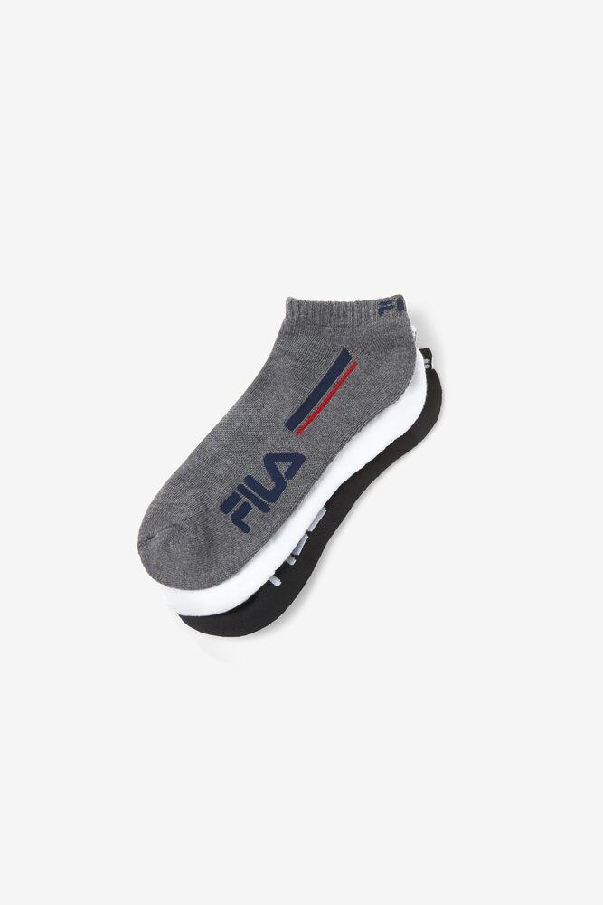Men's Double Stripe No Show Sock 6-Pack in black
