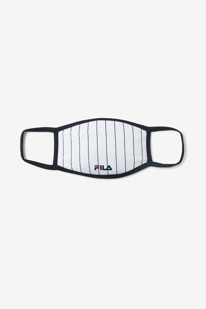White Pin Stripe Face Mask FILA.com exclusive in webimage-8A572F80-2532-42C2-9598F832C44DF3F5
