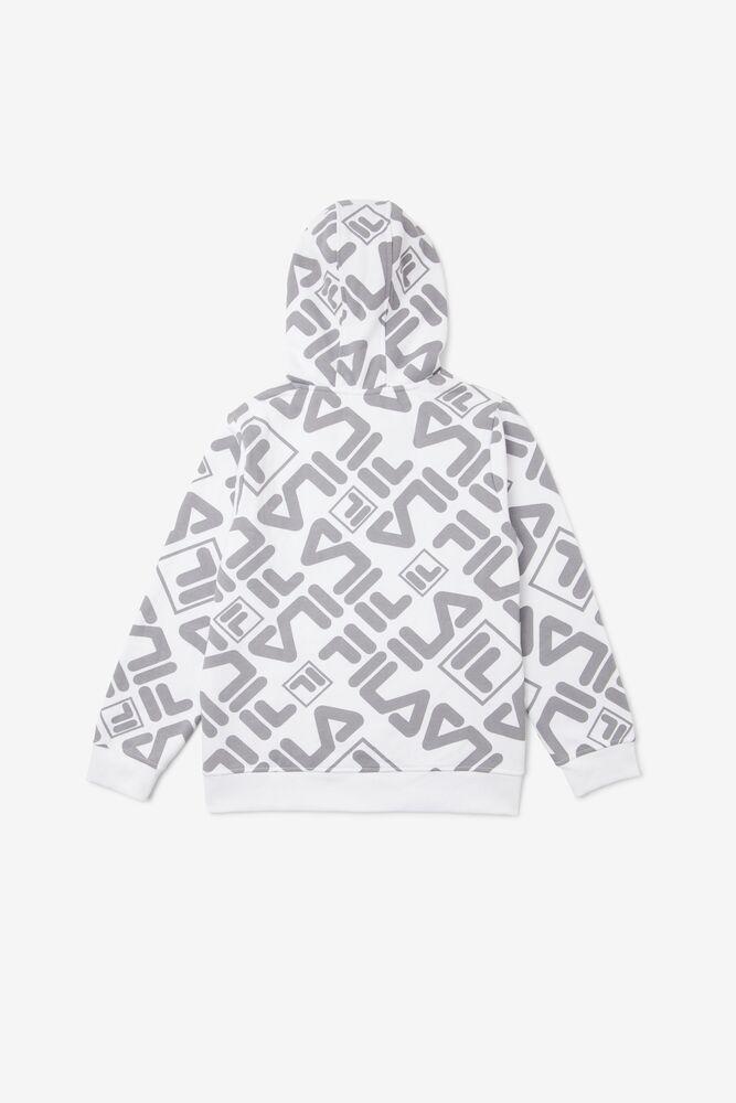Kids' Geo Printed Hoodie in white